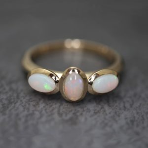 Opal Three Stone Rings