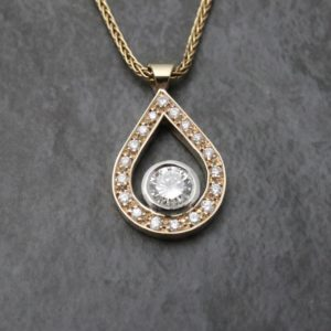 Pavé Set Tear Drop Pendant