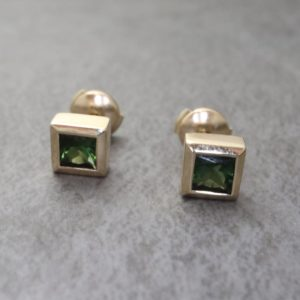 Princess Cut Green Tourmaline Stud Earrings