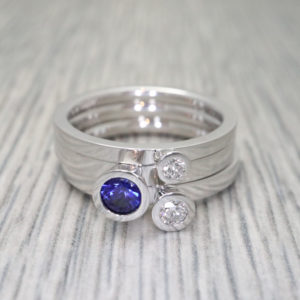 Sapphire and Diamond Aurora Rings