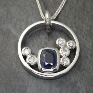 Sapphire and Diamond Multistone Pendant