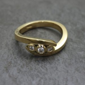 Three Stone Twist Ring