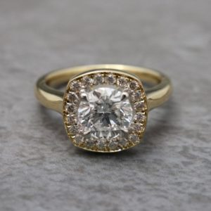 Yellow Gold Diamond Halo Ring