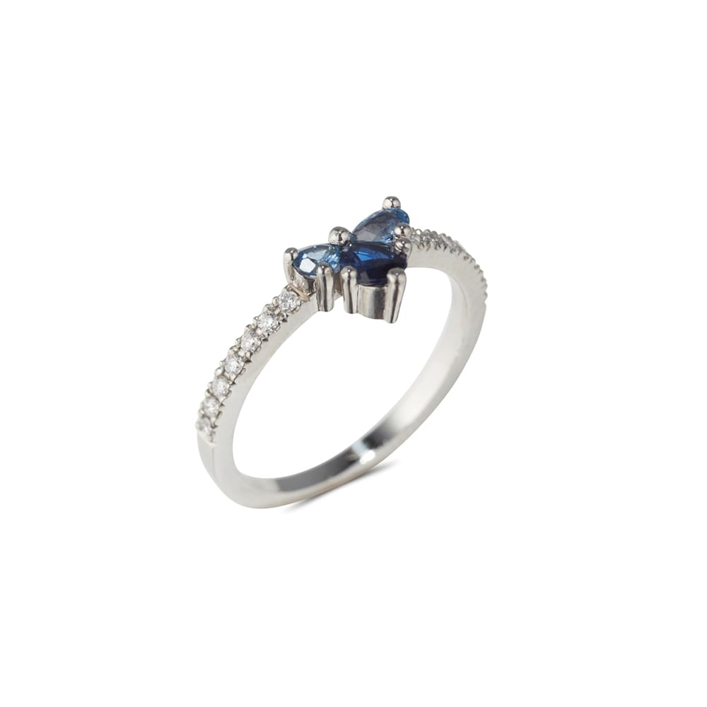 Sapphire Cluster Ring Side View