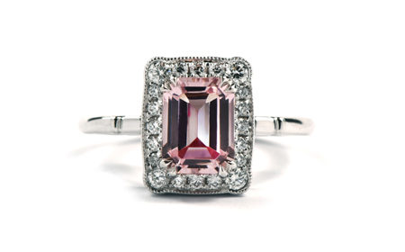 Morganite white gold art deco ring