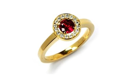 18ct gold ruby ring with diamond halo