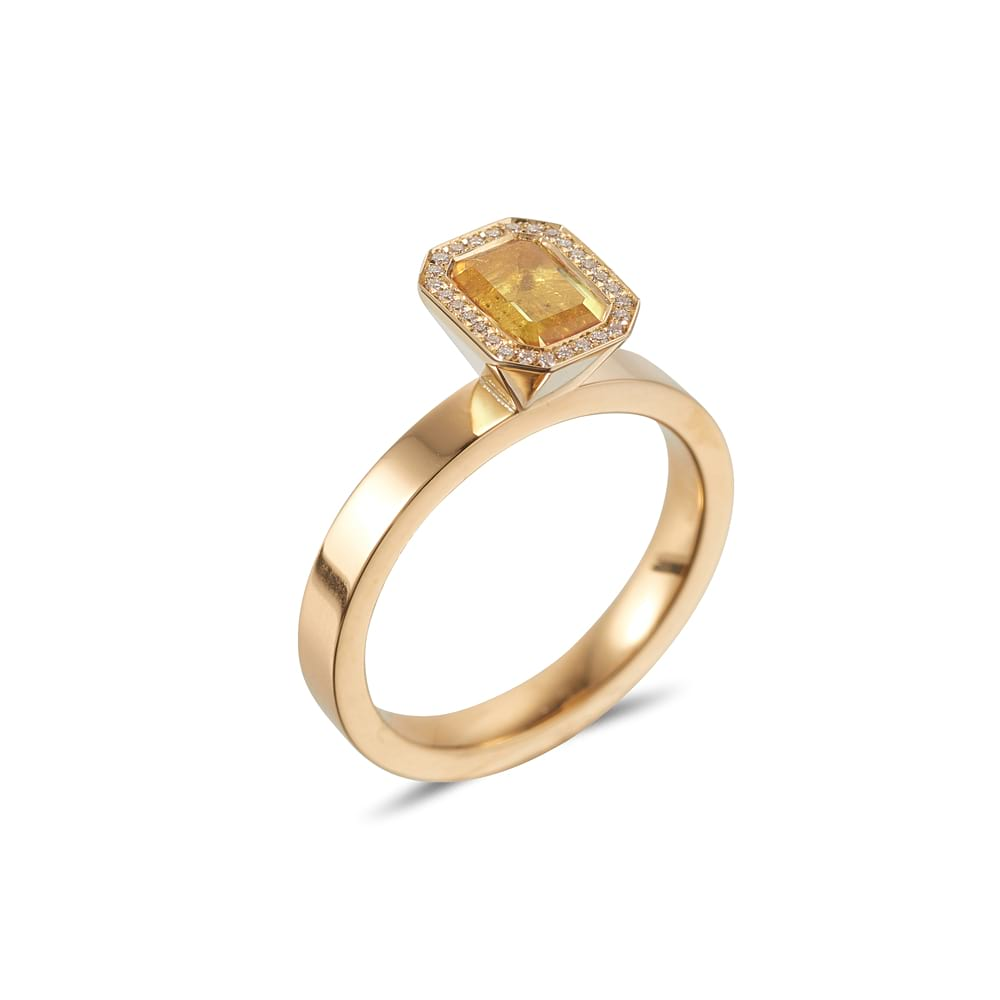 Emerald Cut Citrine Vibrance Ring