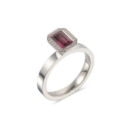 Emerald Cut Rhodolite Garnet Vibrance Ring