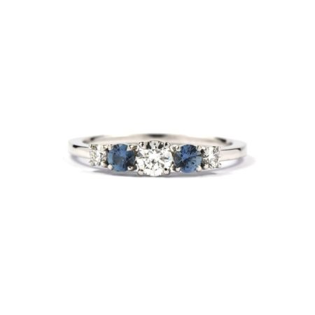WHITE GOLD RING SET WITH TWO SAPPHIRES AND THREE DIAMONDS