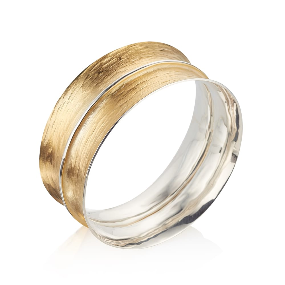 GOLD TEXTURED BANGLE WITH SILVER DETAIL