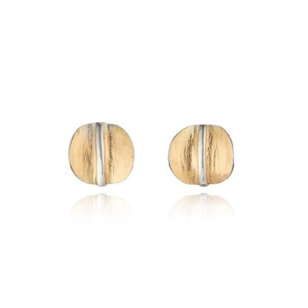 ORGANIC CIRCULAR STUD EARRINGS IN GOLD WITH SILVER DETAIL
