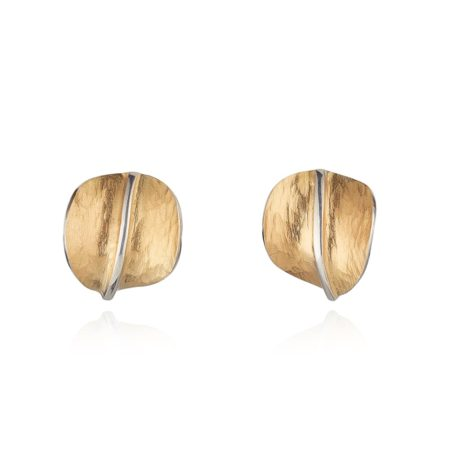 ROUND TEXTURED ORGANIC GOLD STUD EARRINGS