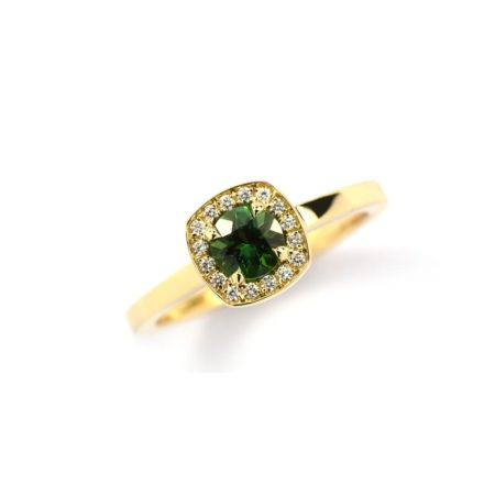 YELLOW GOLD RING WITH ROUND GREEN TOURMALINE AND HALO OF DIAMONDS SET IN CUSHION SHAPED SETTING