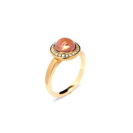 ROSE GOLD RING WITH DOMED SHAPED ROSE QUARTZ AND CIRCULAR DIAMOND SURROUND