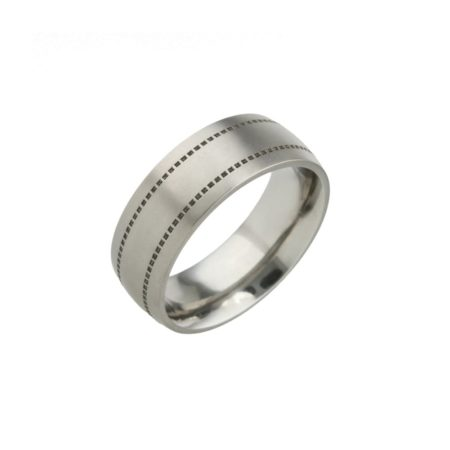 Square Stitch Titanium Ring
