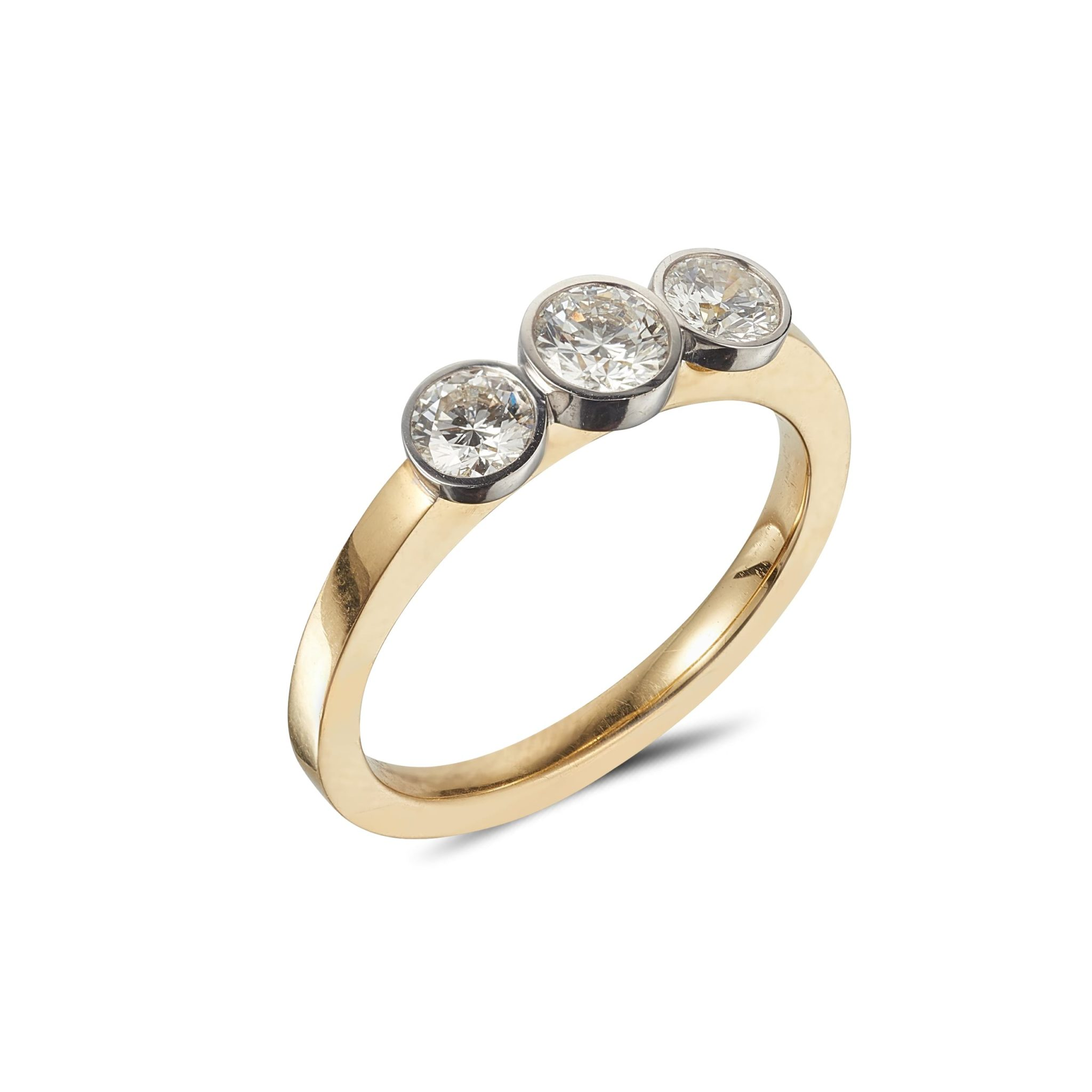 GOLD RING WITH THREE WHITE GOLD BEZEL SET DIAMONDS