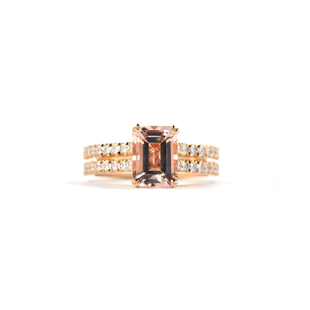 Double Band Morganite Roseanne Ring