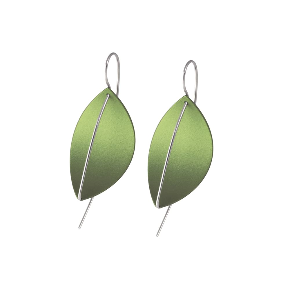 Leaf Drop Earrings Green