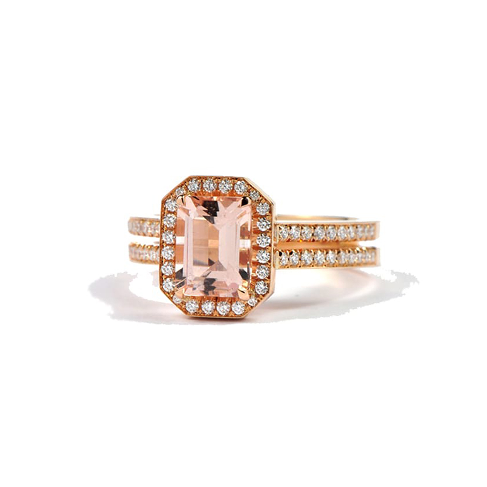 Rose Gold Ring with pink centre stone and diamond surround