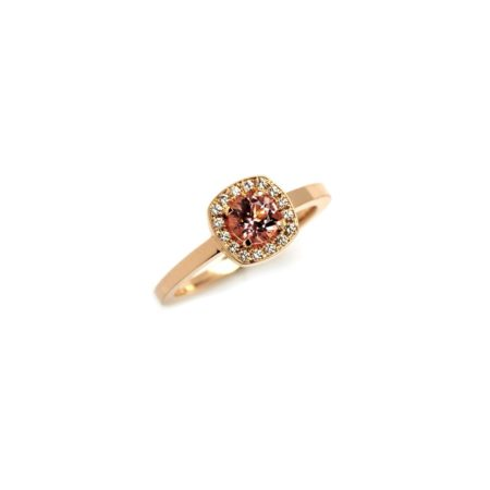 Morganite Emelie Ring with Castel Halo