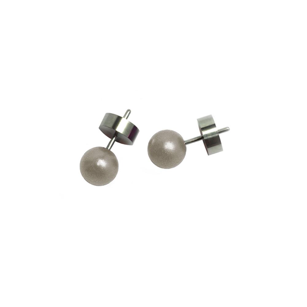Round Stud Earrings - Grey