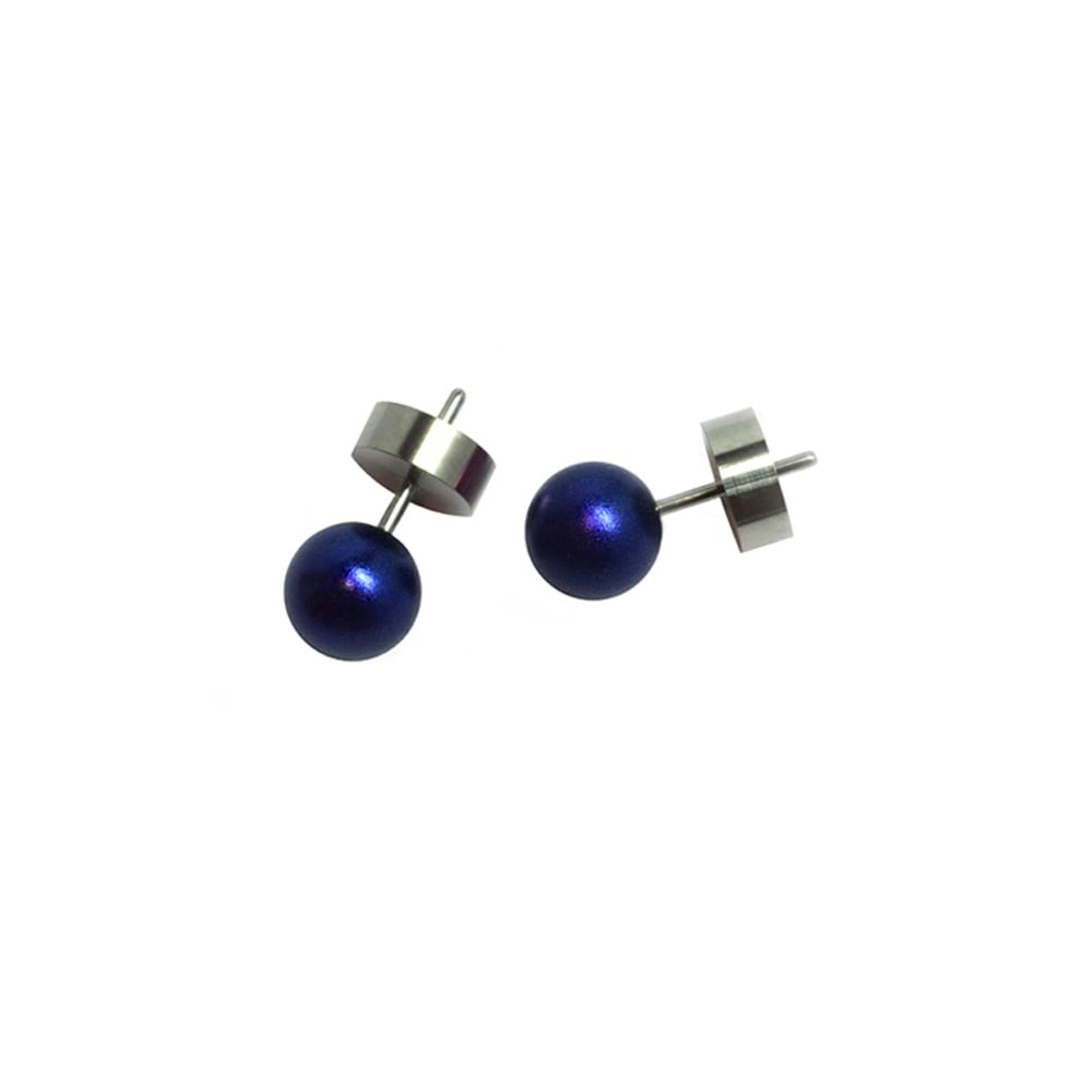 Round stud earrings - marine