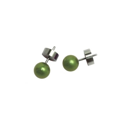 Round stud earrings - olive