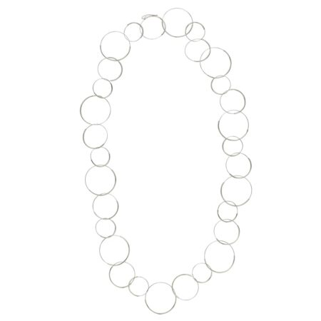 Silver and steel long necklace with multiple circles